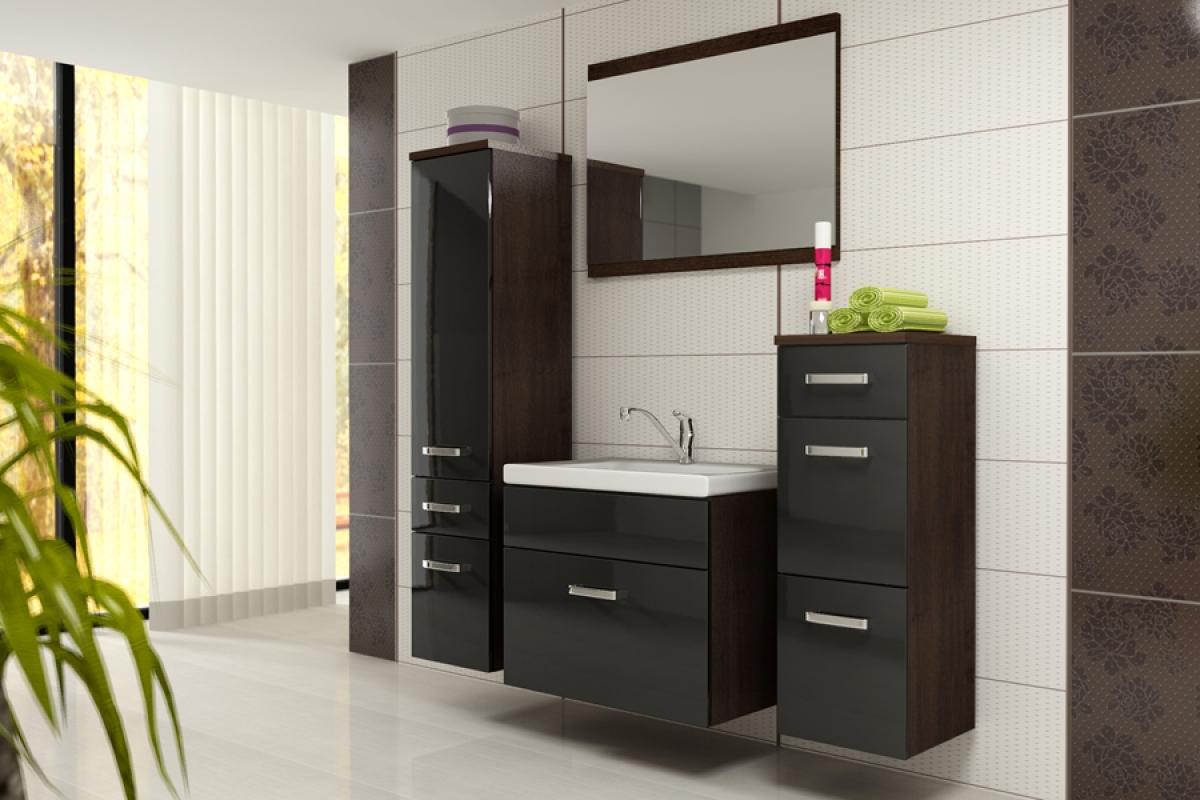 Nabytok-Bogart Kúpeľňový nábytok fever - venge/čierny lesk