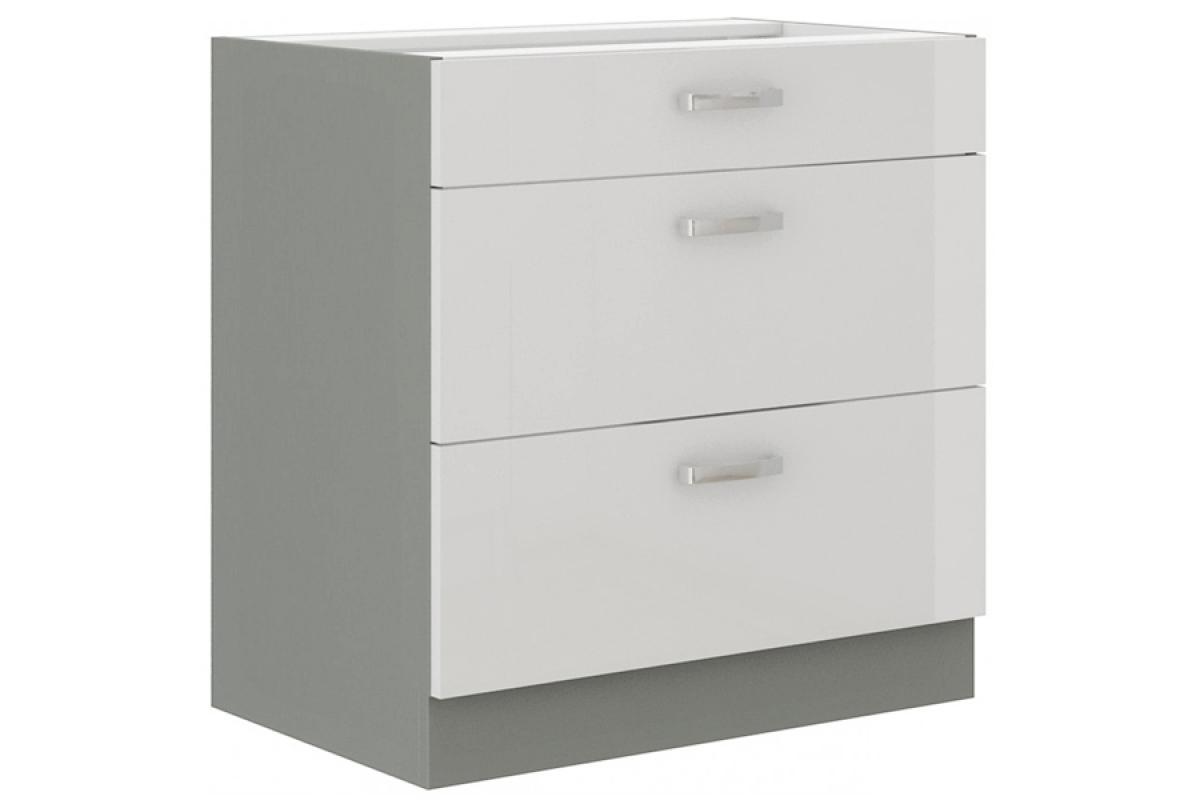 Nabytok-Bogart Bianka biely lesk 80 d 3s bb - dolná skrinka so zásuvkami