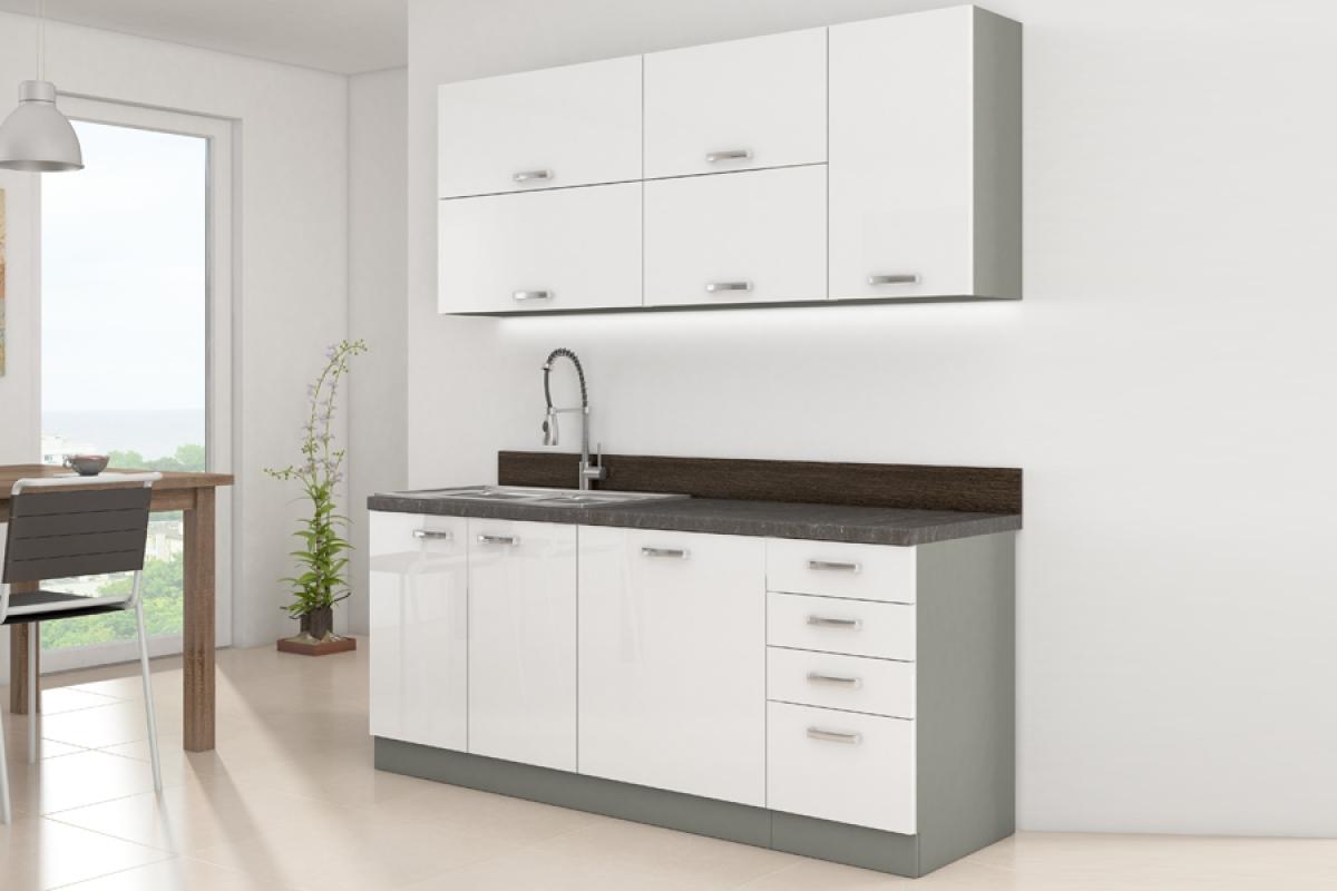 Nabytok-Bogart Kuchyňa bianka biely lesk - komplet 1,8 - komplet nábytku kuchennych