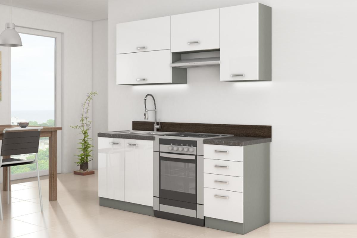 Nabytok-Bogart Kuchyňa bianka biely lesk - komplet 1,2/1,8 - komplet nábytku kuchennych