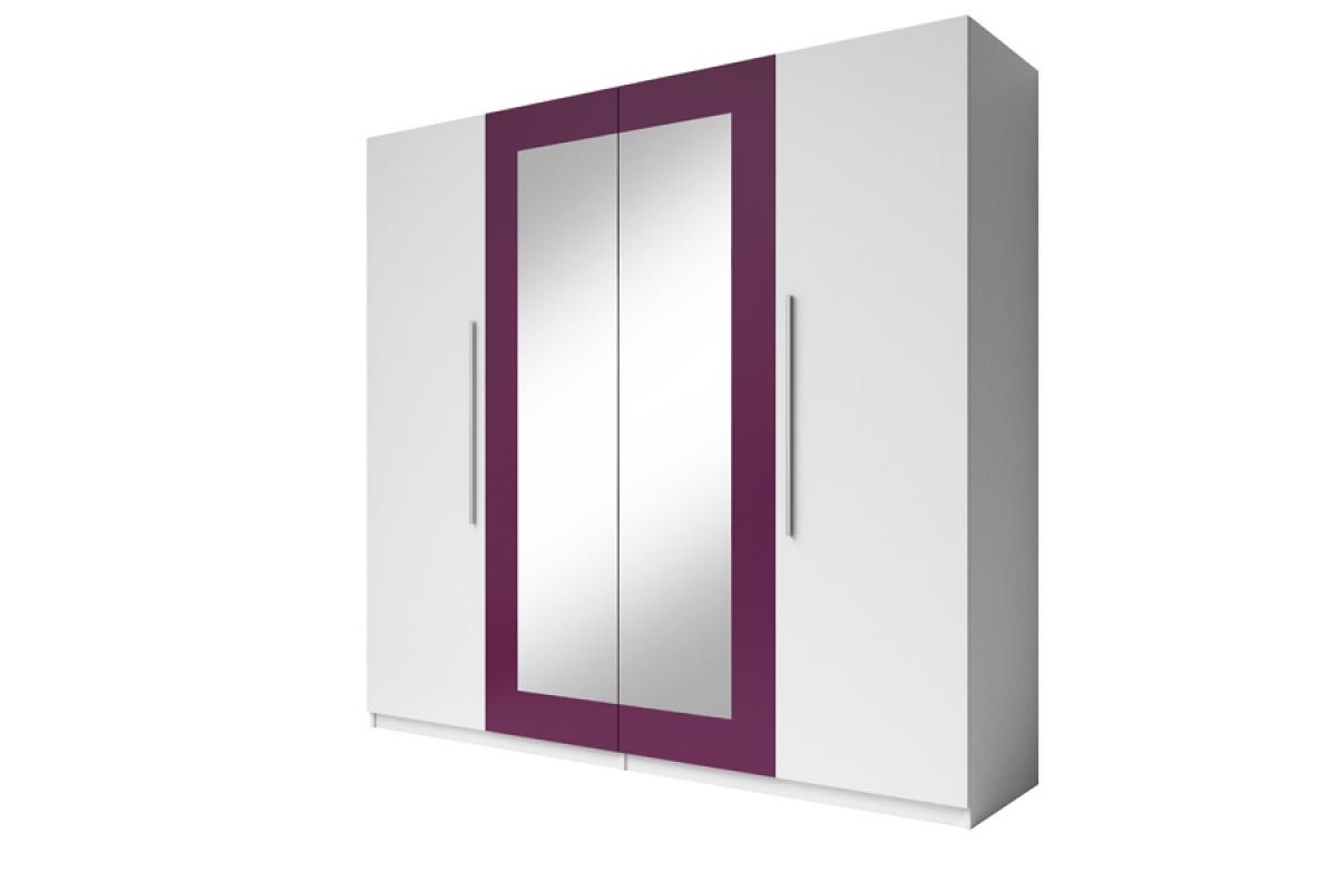 Nabytok-Bogart štvordverová skriňa do spálne vera 20 biela/lila