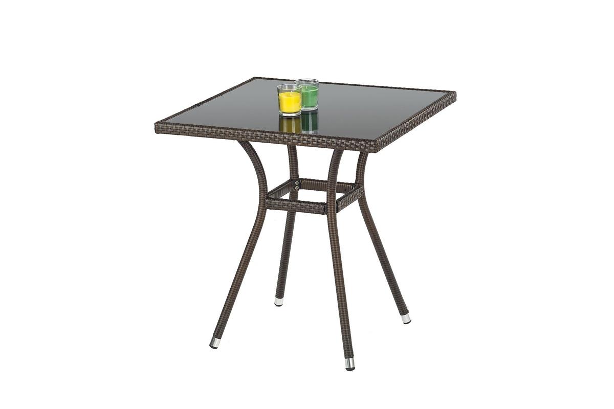 Nabytok-Bogart Mobil stôl záhradný, farba: sklo - čierny, ratan - c.hnedá - výpredaj